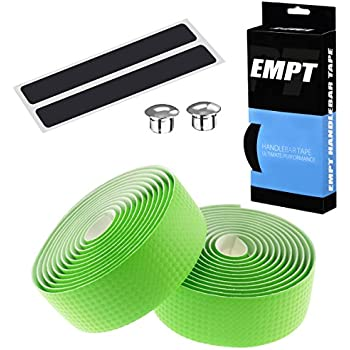 EMPT(イーエムピーティー) カーボン調ロード用 バーテープ ES-JHT020 EMPT クッション製に優れたEVA製カーボン調加工 バーテープ ロード ピスト ドロップハンドルバーテープ ※エンドキャップ、エンドテープ付属(カーボン調黄緑(グリーン))
