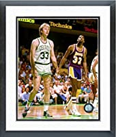 "Larry Bird & Magic Johnson NBA Action Photo (Size: 22.5"" x 26.5"") Framed"
