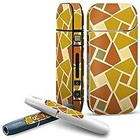 IQOS 専用 COMPLETE アイコス 専用スキンシール 全面セット サイド ボタン スマコレ チャージャー カバー ケース デコ チェック・ボーダー 模様 オレンジ 黄色 004108