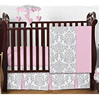 Sweet Jojo Designs Pink Gray and White Elizabeth Baby Girl Bedding 4pc Crib Set Without Bumper [並行輸入品]