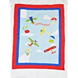 Be-You-Tiful Home Airplanes Fly Away Baby Quilt, Blue [並行輸入品]