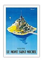 モン・サン・ミッシェルをご覧ください - ノルマンディー、フランス - ビンテージな世界旅行のポスター によって作成された ベルナール・ヴィユモ c.1955 - 美しいポスターアート