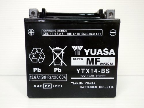 【YUASA】 バイク用バッテリー YTX14-BS(GTX14-BS・FTX14-BS互換)