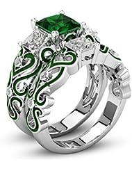 女性のためのファッション925シルバーメッキ結婚指輪婚約指輪フレンドマザーパーティー着用記念日 (緑, 18)