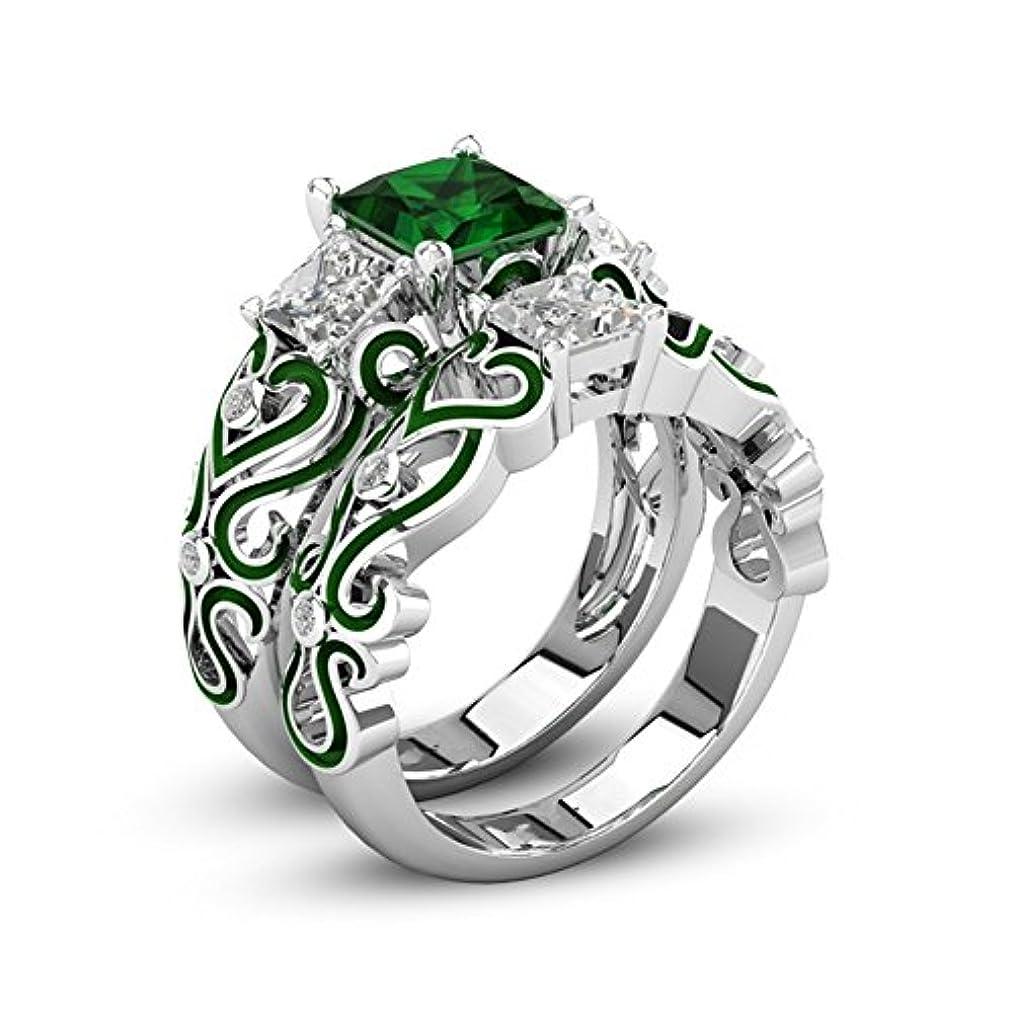 精神例示する心配女性のためのファッション925シルバーメッキ結婚指輪婚約指輪フレンドマザーパーティー着用記念日 (緑, 18)