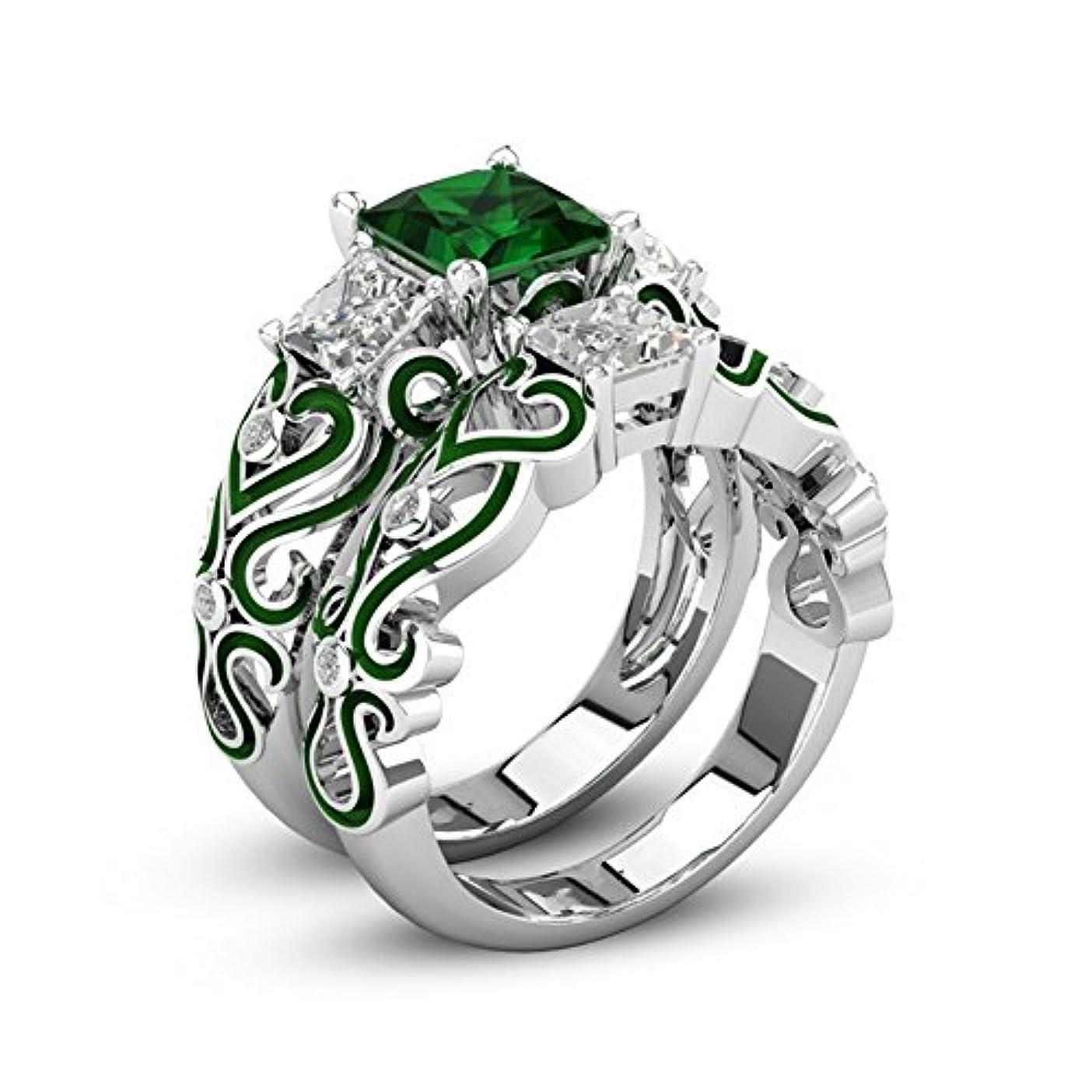 再生的ゴージャス哺乳類女性のためのファッション925シルバーメッキ結婚指輪婚約指輪フレンドマザーパーティー着用記念日 (緑, 18)
