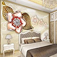Wuyyii 大パーソナライズ壁紙ゴールドダイヤモンドメガネ花ジュエリーテレビの背景リビングルームの寝室の装飾 - 200×140センチ