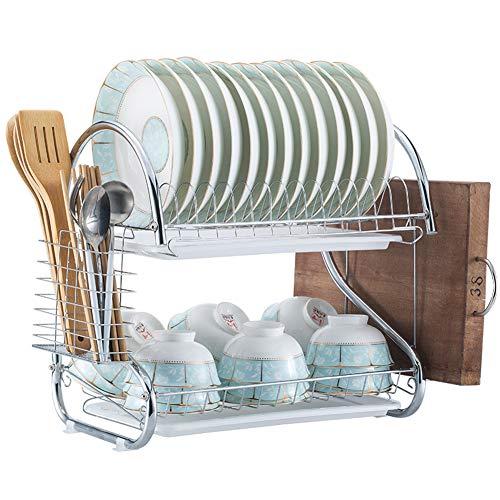水切り ラック DUTISON 2段式 パイプ 水切りかご ステンレス製 キッチン収納 耐荷重19kg 食器棚 バスケット トレー付き 省スペース 北欧 おしゃれ