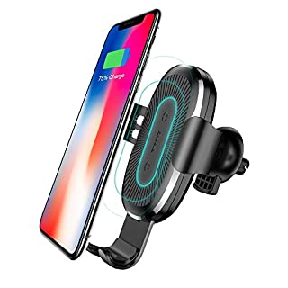 Qi ワイヤレス 充電器 車載 エアコン吹き出し口 Baseus 車載ホルダーqi ワイヤレス充電器 360度回転 QC2.0/3.0 急速充電重力原理で自動調節 iPhoneX/8/8Plus/GalaxyS8/S8Plus/S7/S7Edge/S6/S6Edge/Note8/Note5/Nexus5/6対応(黒)