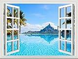 選べる ウォール ステッカー 窓 の 風景 いろいろ (海 島 ヤシの木 70x50cm)
