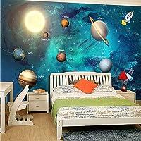 Xbwy 3D壁紙宇宙宇宙子供部屋星空惑星の壁紙3Dステレオ漫画の壁画3Dフレスコ画-280X200Cm