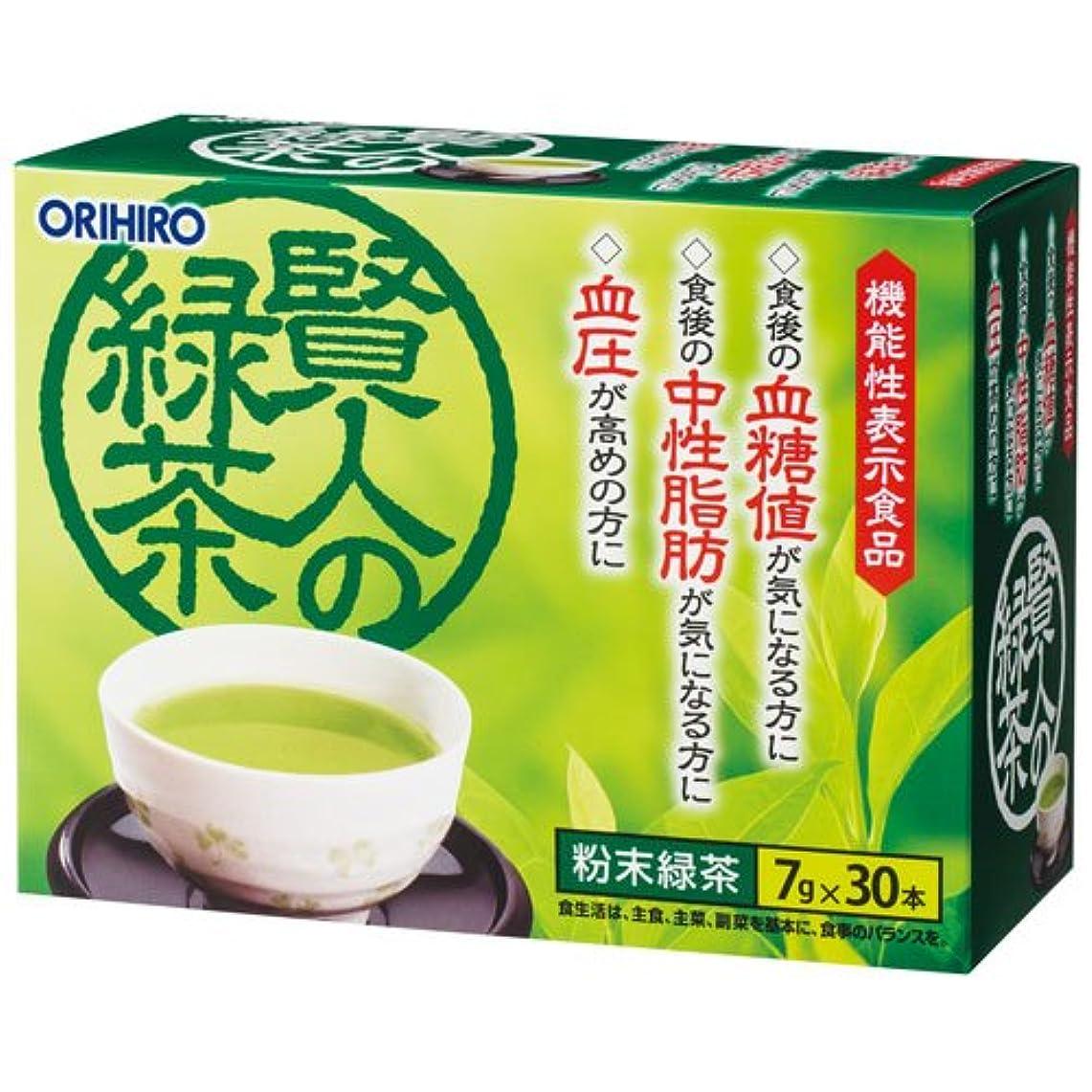 粘り強い教不正直オリヒロ 賢人の緑茶 7g×30包×6個セット
