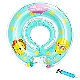 うきわ首リング 赤ちゃんのトレーニングに 子供うきわ 首浮き輪 プールやお風呂で 水遊び 調節ベルト付き(ブルー, Lサイズ)