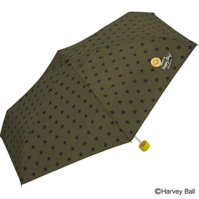 w.p.c 折りたたみ傘 カーキ 53cm スマイリーフェイス 6本骨 SM06-198