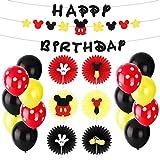 BeYumiミッキーマウス誕生日 飾り付け バルーン ガーランド ペーパーファン 子供たちの誕生日のためのテーマアイデア