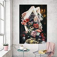 WZMFBH リビングルームの家の装飾現代絵画フレームレスのための壁のキャンバスアートの女の子と花の写真