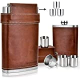 GENNISSY 304 18/8 Stainless Steel 8oz Flask for Storing Whiskey/Alcohol- Brown Leather with 3 Cups and Funnel 100% Leak Proof