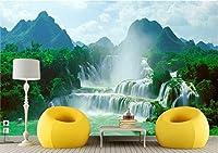 Bzbhart 3D壁紙シルク壁画緑の滝風景装飾絵画 壁壁画壁紙用リビングルーム-400cmx280cm