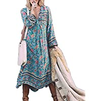 Floral Long Sleeve Maxi Long Dresses for Women Casual Summer Urban Village Ladies Printed Dress