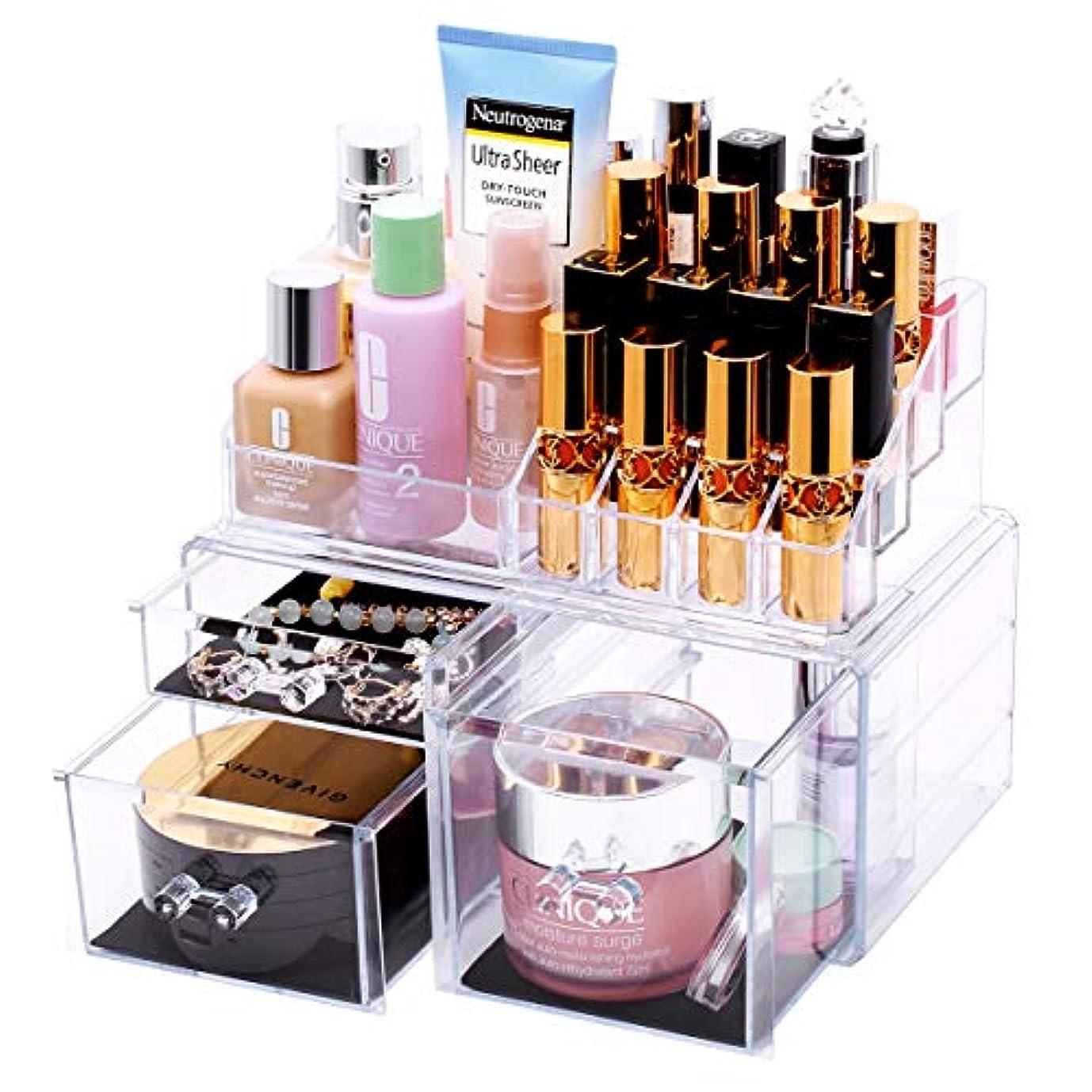 でる機動経済FORSONT メイクボックス 二層 化粧品収納ボックス 口紅ボックス 大容量収納 透明 アクセサリ収納ボックス
