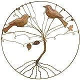 "Ancient Graffiti 16"" x 16"" x 16"" Copper Love Birds in a Tree Circlet Wall Art"
