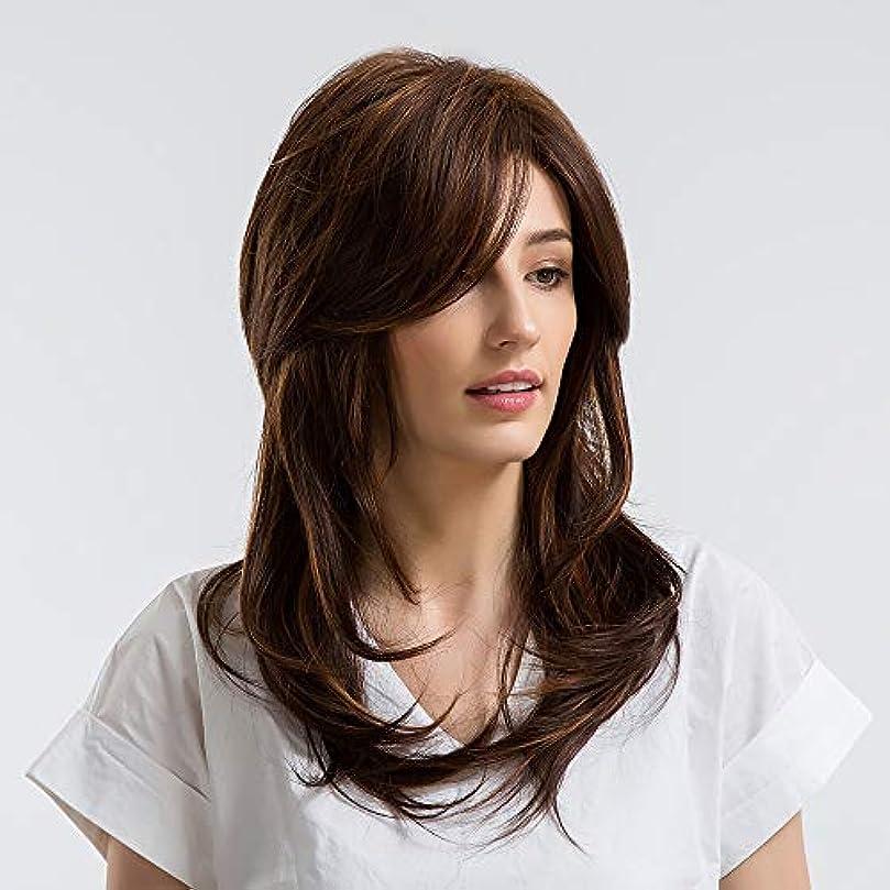 斧崇拝しますコインランドリーヘアピース 女性ヨーロッパと米国の長い巻き毛ダークブラウン斜め前髪ウィッグのかつら