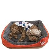 yemsy style ふかふか もこもこ ペットベッド 犬 猫 洗える スクエア ベッド マット 小型犬 中型犬 収納袋付き 選べる カラー (04: オレンジ S)