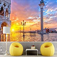 Xueshao 3D壁紙ヨーロッパ美しい街の風景壁画テレビのリビングルームの寝室の背景ウォール家の装飾防水3Dフレスコ画-120X100Cm