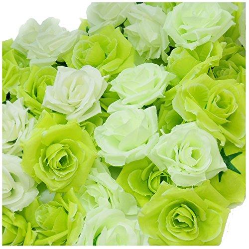 AQ-Terre バラ 造花 ウエディング ローズ 花のみ 薔薇 ブーケ ブライダル ハンドメイド (b. 100個セット, 09. ミックス グリーン)