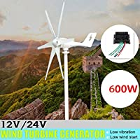 600W 12V 24ボルトの風力タービン+コントローラ6ブレイド水平ホーム風力発電風車パワーズエネルギータービンチャージ,12v