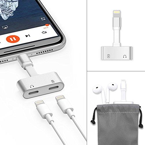 イヤホン変換アダプター デュアルライトニングコネクタ 充電ケーブル ヘッドホンジャック 音楽/充電/通話 iPhone7/7Plus/8/8Plus iOS 10.0以降対応Light Cable Splitter 2in1ポート 3.5mmヘッドフォン変換ケーブル コンパクト端子 USBをシリアル·コネクタに変換 (シルバー)