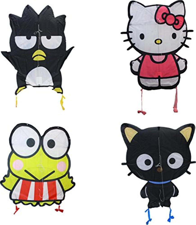 WindnSun Sky Pals Hello Kitty rip-stopナイロンカイトAssortment、27インチ‐ 29インチ、4のパック