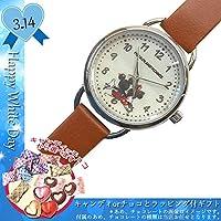 WD-MKN011-5/【White Day/ホワイトデー】腕時計「ディズニー手書き風」(ミッキー&ミニー/ブラウン)&「キャンディorチョコレート」8個前後&ラッピングサービス付きオリジナルギフト/3月14日/オリジナル/お菓子/ギフト/プレゼント