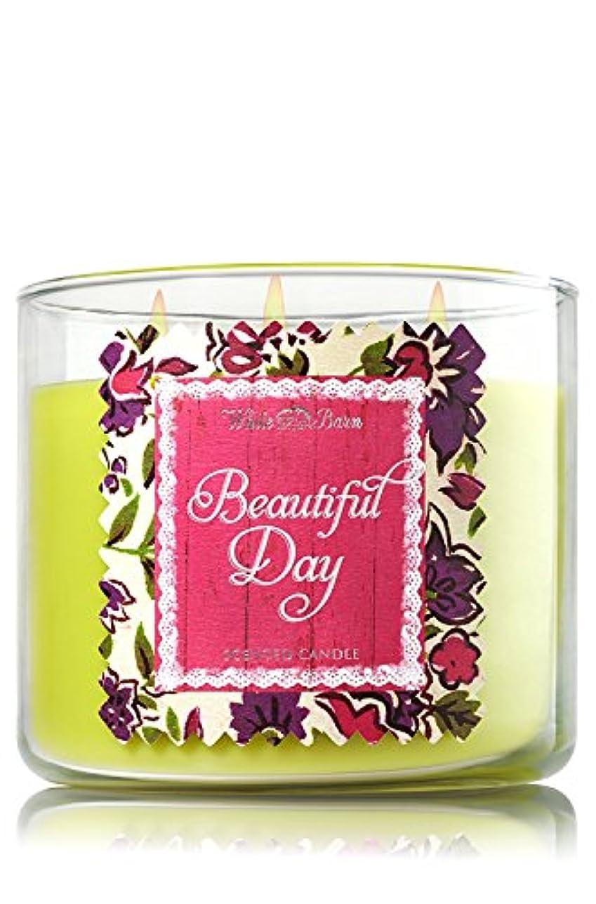 料理手のひら中級Bath & Body Works Candle 3 Wick 14.5 Ounce Limited Edition 2015 Beautiful Day by White Barn