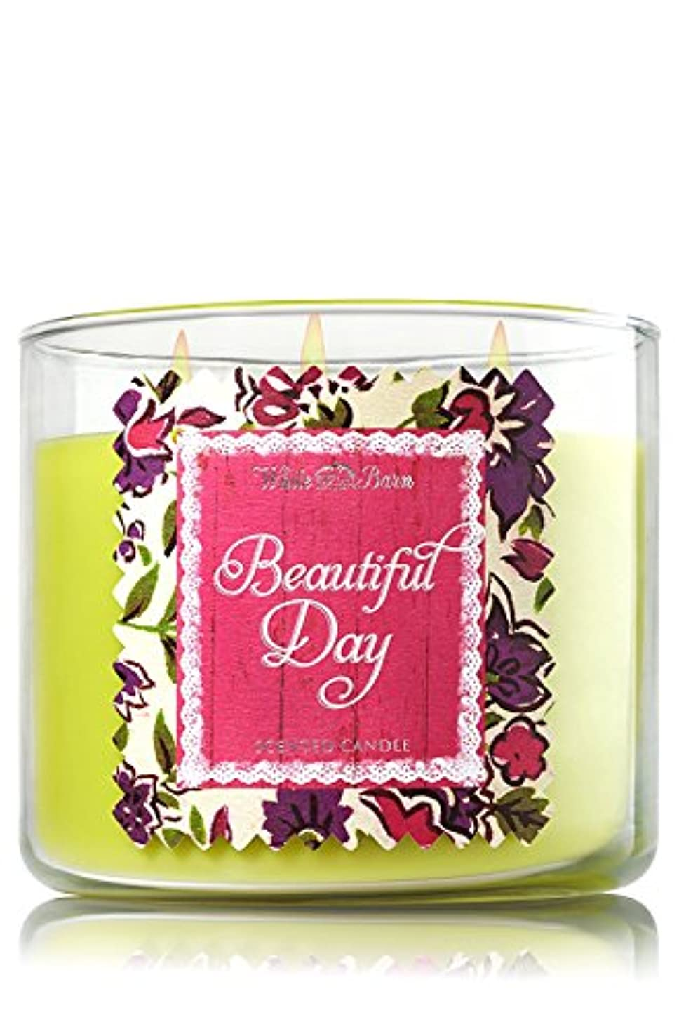 バンジョーと遊ぶあそこBath & Body Works Candle 3 Wick 14.5 Ounce Limited Edition 2015 Beautiful Day by White Barn