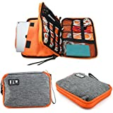 Honeystore Double Layer Electronic Organiser Travel Gadget Bag Cable Cord Organizer Case Electronic Accessories Storage Bag for USB Cable, SD Card, Hard Drive, iPad, Charger, Phone and More Gray