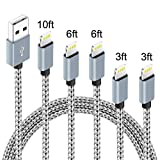 5パック (3フィート、3フィート、6フィート、6フィート、10フィート) ナイロン編組充電コード充電器 PhoneX/8/8Plus 7/7 Plus/6s/6s Plus/6/6 Plus/5s/55se、パッド、ポッドなどに対応 (グレー&ホワイト)