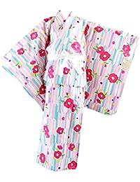 浴衣 子供 女の子 -11- キッズ浴衣 綿100% 140cm 矢絣 椿柄