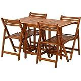不二貿易 バタフライテーブル&チェア 5点セット ナチュラル