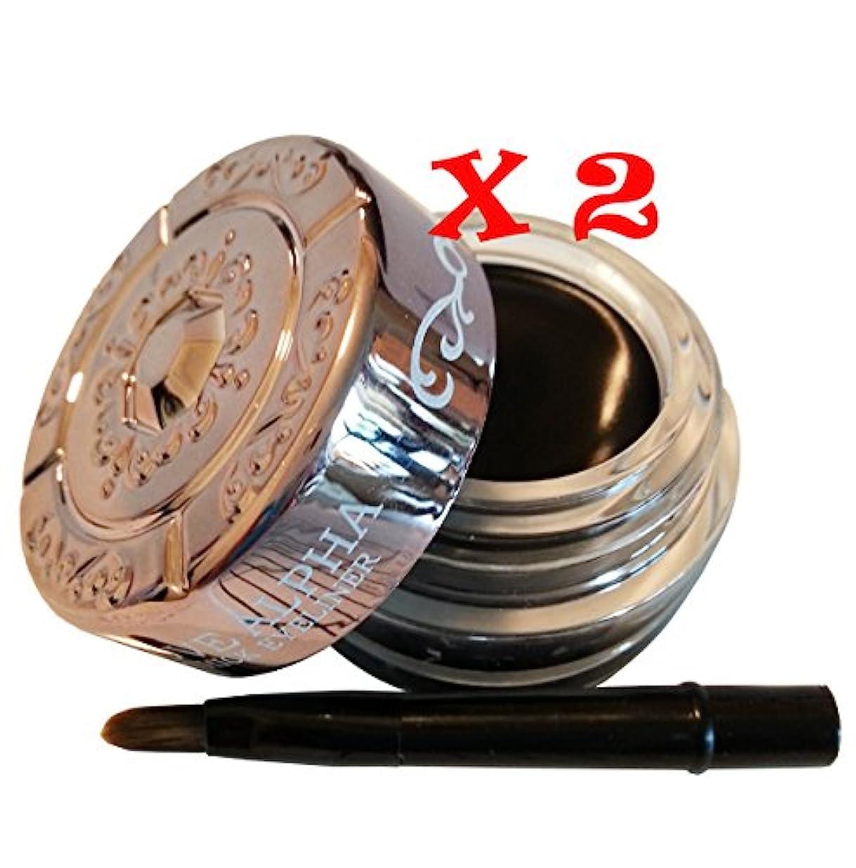 海嶺非常に怒っています鼓舞するLove Alpha LA245 Waterproof Thick Eyeliner Gel Color in Black 2 Boxes Set [並行輸入品]
