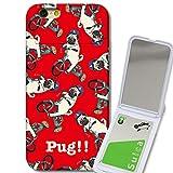 301-sanmaruichi- iPhone6s ケース iPhone6 ケース ミラーケース 鏡付き ミラー付き カード収納 おしゃれ PUG!! パグ ぶさかわいい 犬 RED レッド プリント 電磁派防止シートつき