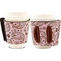 Objectiboo!(オブジェクティブー)通せるカップスリーブ Reference ベビーピンク(保温性・断熱性のある取手付きコーヒースリーブ・コンビニコーヒーカップなどに対応・アイスコーヒーにも使用可)
