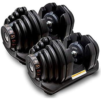 MRG 可変式 ダンベル 40kg 2個セット アジャスタブルダンベル 5~40kg 17段階調節 ダイヤル 可変ダンベル [1年保証] (ブラック)