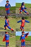 スーパーマン: 子供Lサイズ110〜120cmコスプレ衣装コスチューム子供用子供サイズハロウィン衣装大人男女着用バットマン仮装用おばけお化けお面かぶりものハロウインハロウィーンパーティーグッズ仮装変装【3サイズ】