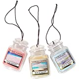 Yankee Candle Car Jar Ultimate Hanging Air Freshener 3-Pack (Beach Walk, Pink Sands, and Sun and Sand)