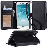 【Arae】iPhone7 Plus ケース / iPhone 8 Plus ケース 手帳型 スタンド ストラップ カード マグネット 財布型 落下防止 衝撃吸収 おしゃれ おすすめ アイフォン 7 プラス / アイフォン 8 プラス 用 ケース カバー (ブラック)