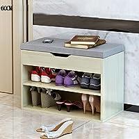 YNN ソリッドウッド靴ラック靴キャビネット靴ベンチ多機能ストレージスツール2層60cm (色 : A)
