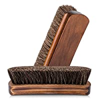 "YouGoSuper 6.7"" Horsehair Shoe Shine Brushes with Horse Hair Bristles for Boots, Shoes & Other Leather Care, 2 Pack"