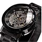 時計機械式時計 メンズウォッチクラシックスタイルのメカニカルウォッチスケルトンステンレススチールタイムレスデザインメカニカルスチームパンク