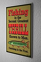 Tin Sign ブリキ看板 Angler Home Fishing thrill Sport Fishing Deep Sea Metal Plate